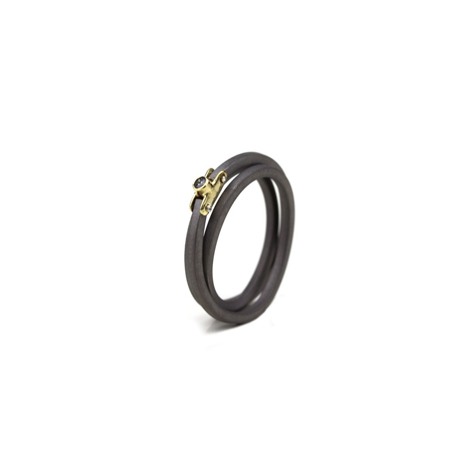 Jacek Byczewski 53A - Ring - Limited edition - Sandblasted steel, yellow gold and zircon