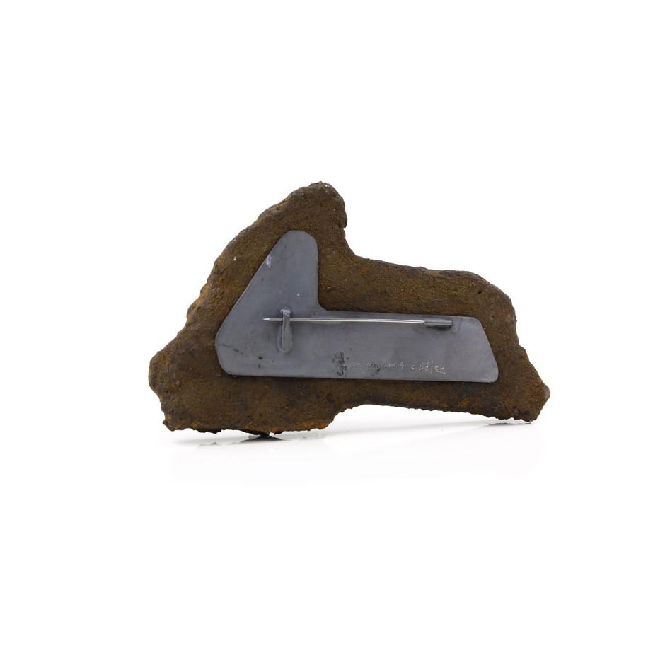 Corrado De Meo 28C - Brooch - Unique piece - Tracce urbane - Polystyrene, metallic acrylics, oxides, silver, steel