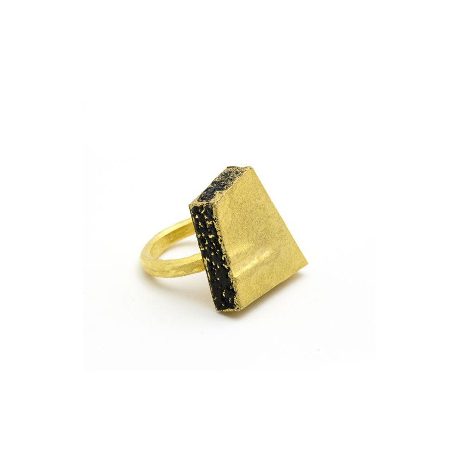 Adrean Bloomard 14A - Ring - Unique piece - Made of gold and black enamel