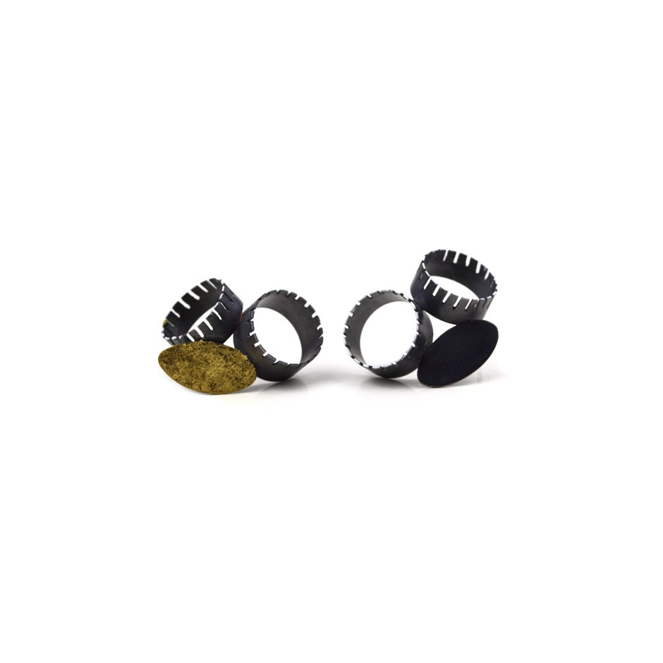 Satomi Kawai 29A - Earrings - Place for Myself - Oxidized silver, resin, gold leaf, sterling sliver