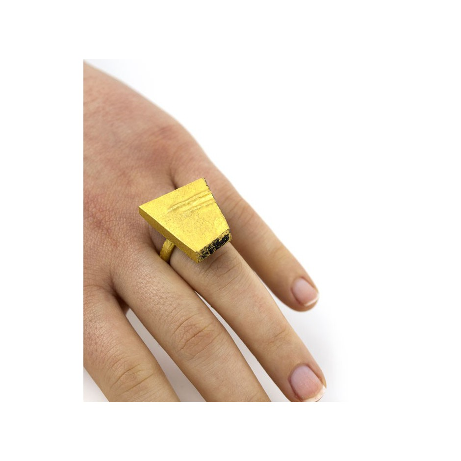 Adrean Bloomard 14E - Ring - Unique piece - Made of gold and black enamel