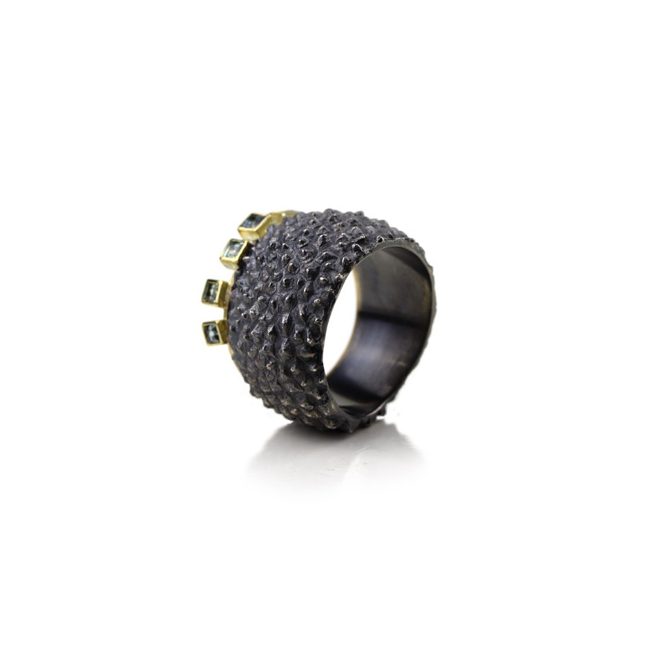 Margo Nelissen 19B - Unique piece - Curacao Memories lagun 5 - Ring made of oxidized silver, yellow gold and square sapphires.