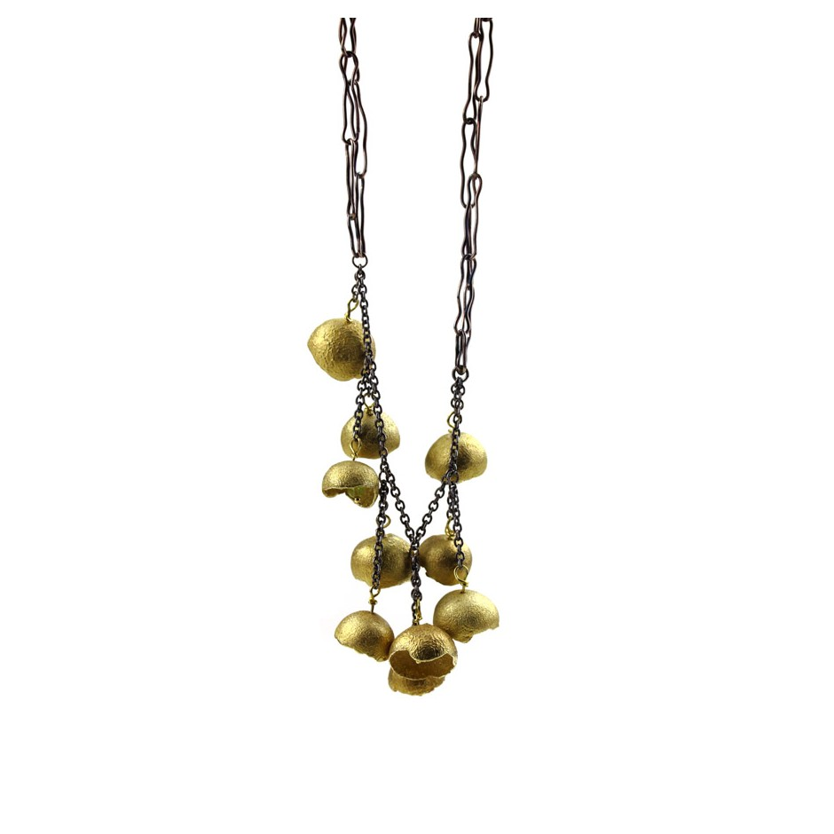 Margo Nelissen 24E - Unique piece - Necklace made of silver, silver gilt, yellow gold and peridot.