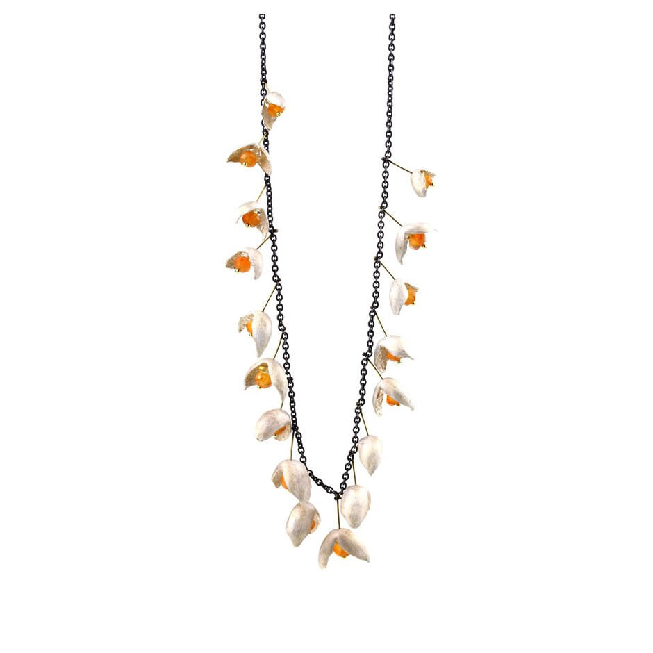 Margo Nelissen 25D - Limited edition - Necklace made of silver, oxidized silver, gold, carnelians and peridot.