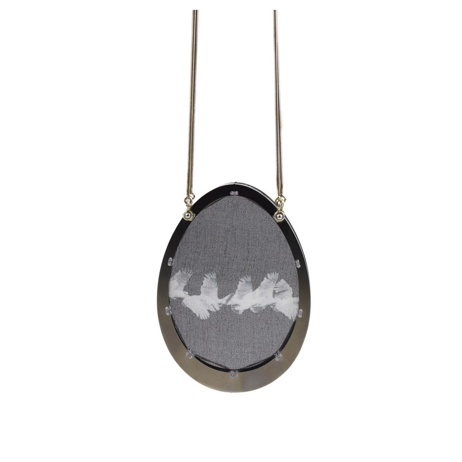 Chiara Scarpitti 18A - Limited Editions - Phylogenesis - Necklace made of silver, steel, plexiglass, printed cloth.
