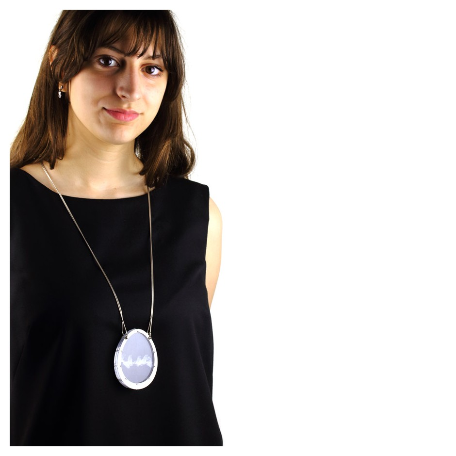 Chiara Scarpitti 18D - Limited Editions - Phylogenesis - Necklace made of silver, steel, plexiglass, printed cloth.