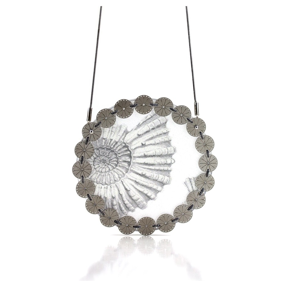 Chiara Scarpitti 19A - Limited Editions - Correspondences - Necklace made of silver, steel, plexiglass, printed cloth.