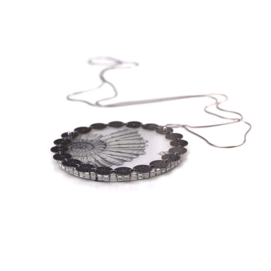 Chiara Scarpitti 19B - Limited Editions - Correspondences - Necklace made of silver, steel, plexiglass, printed cloth.