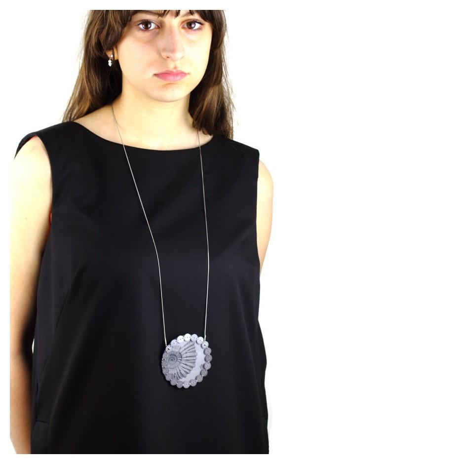 Chiara Scarpitti 19C - Limited Editions - Correspondences - Necklace made of silver, steel, plexiglass, printed cloth.