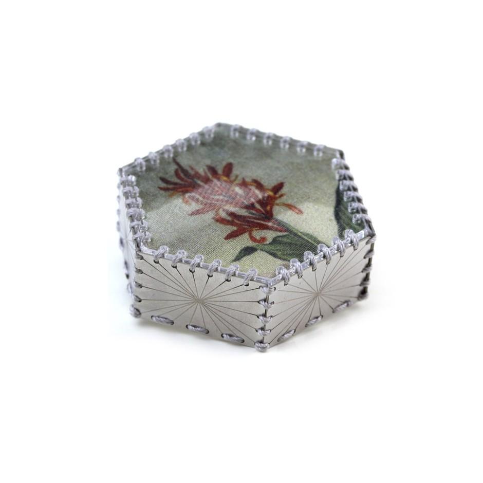 Chiara Scarpitti 20A - Limited Edition - Correspondences - Brooch made of silver, steel, plexiglass, printed cloth.