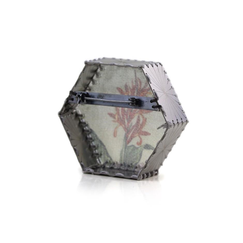 Chiara Scarpitti 20C - Limited Edition - Correspondences - Brooch made of silver, steel, plexiglass, printed cloth.