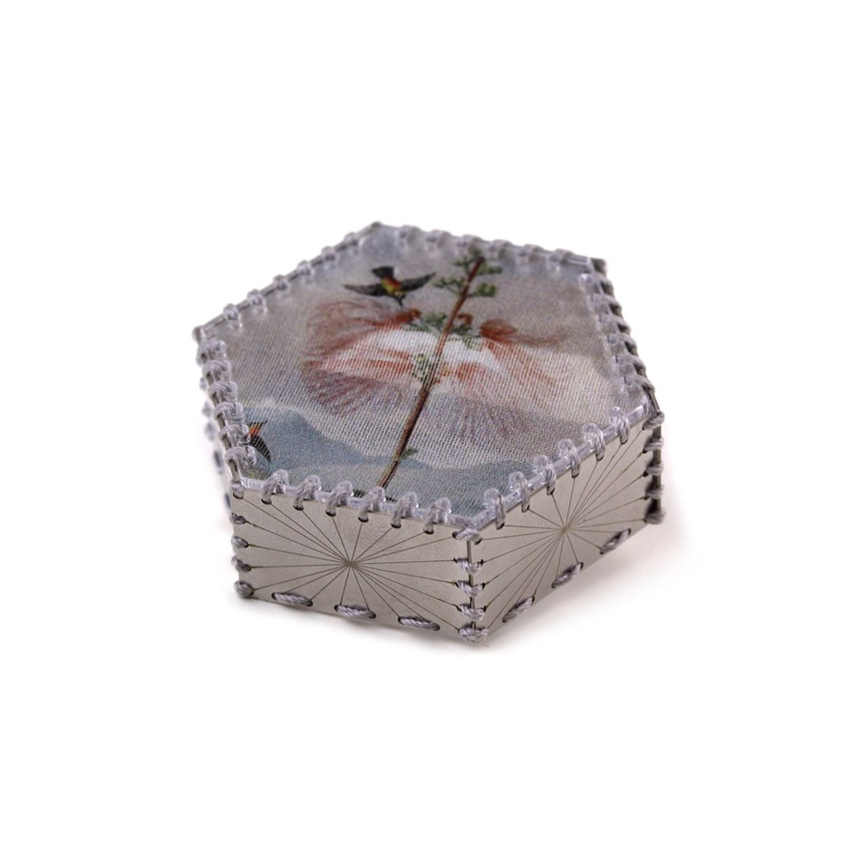 Chiara Scarpitti 21A - Limited Edition - Correspondences - Brooch made of silver, steel, plexiglass, printed cloth.