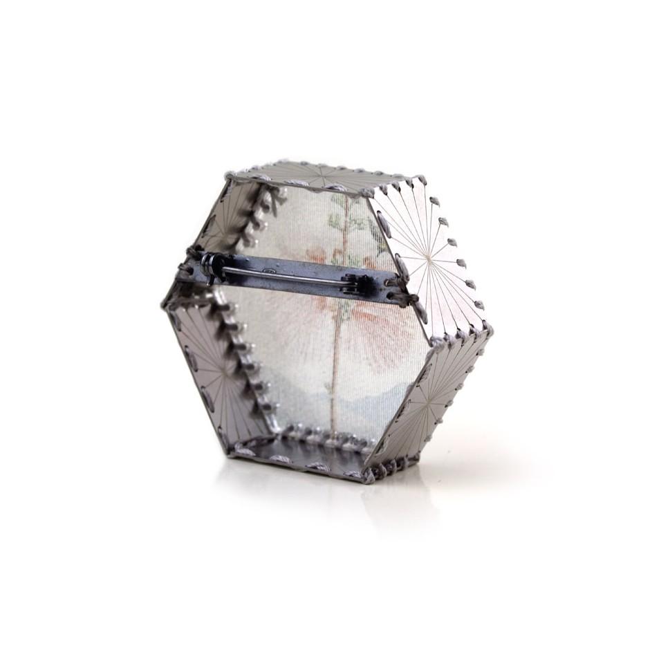 Chiara Scarpitti 21C - Limited Edition - Correspondences - Brooch made of silver, steel, plexiglass, printed cloth.