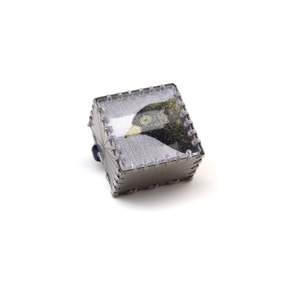 Chiara Scarpitti 22A - Limited Edition - Correspondences - Brooch made of silver, steel, plexiglass, printed cloth.