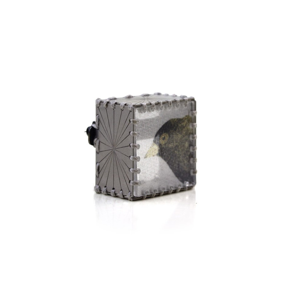 Chiara Scarpitti 22B - Limited Edition - Correspondences - Brooch made of silver, steel, plexiglass, printed cloth.