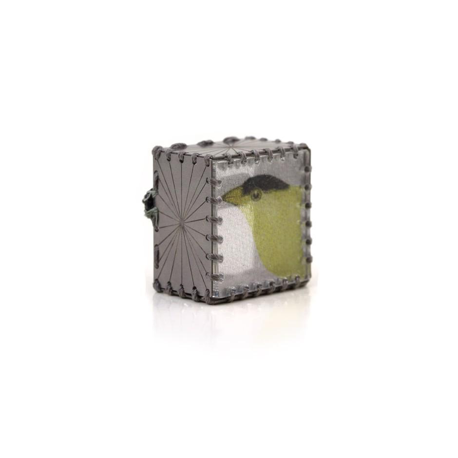 Chiara Scarpitti 23B - Limited Edition - Correspondences - Brooch made of silver, steel, plexiglass, printed cloth.