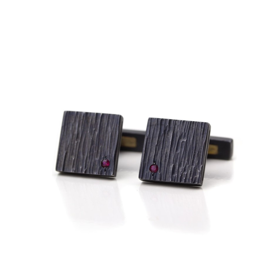 Marco Malasomma 41A - Cufflinks - Oxidized silver, yellow gold and rubies