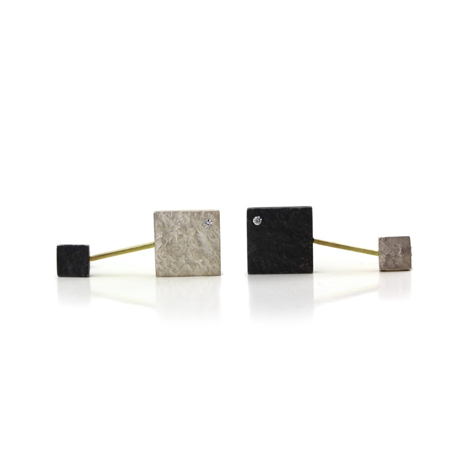 Marco Malasomma 43A - Earrings - Oxidized silver, silver, yellow gold and diamonds