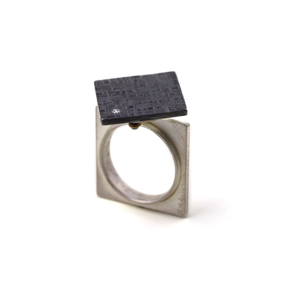 Marco Malasomma 44A - Ring - Solo - Oxidized silver, silver and diamond