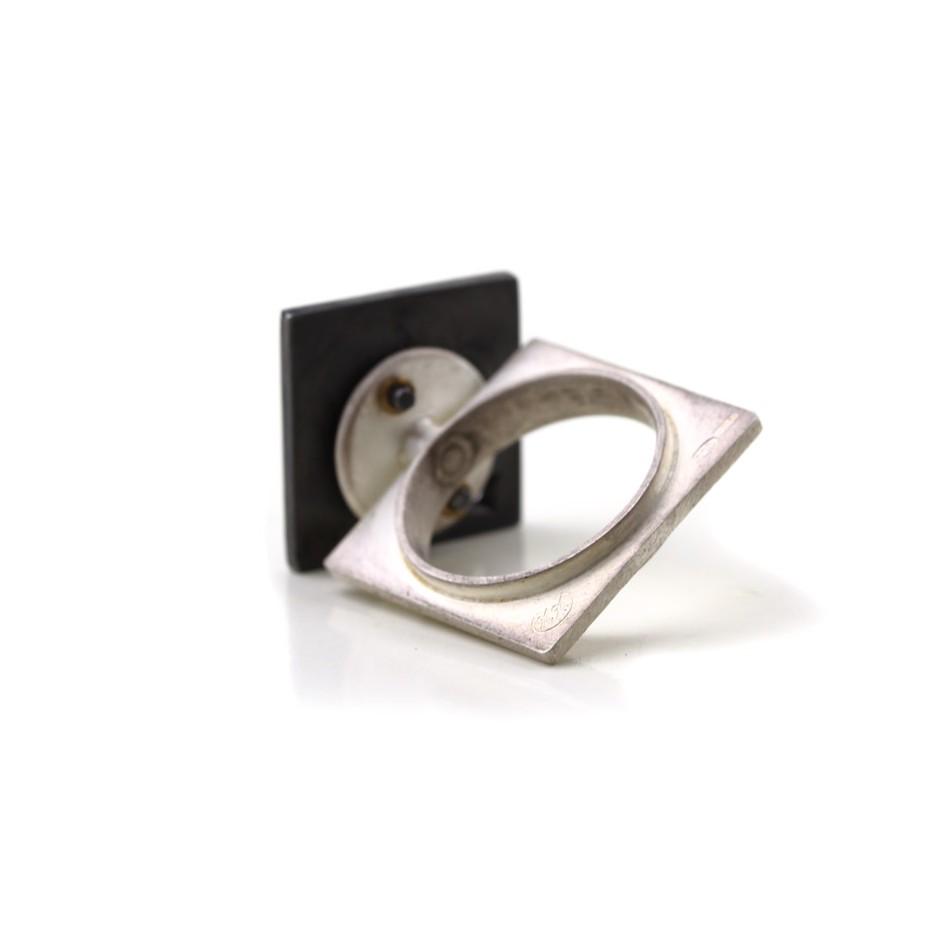 Marco Malasomma 44C - Ring - Solo - Oxidized silver, silver and diamond