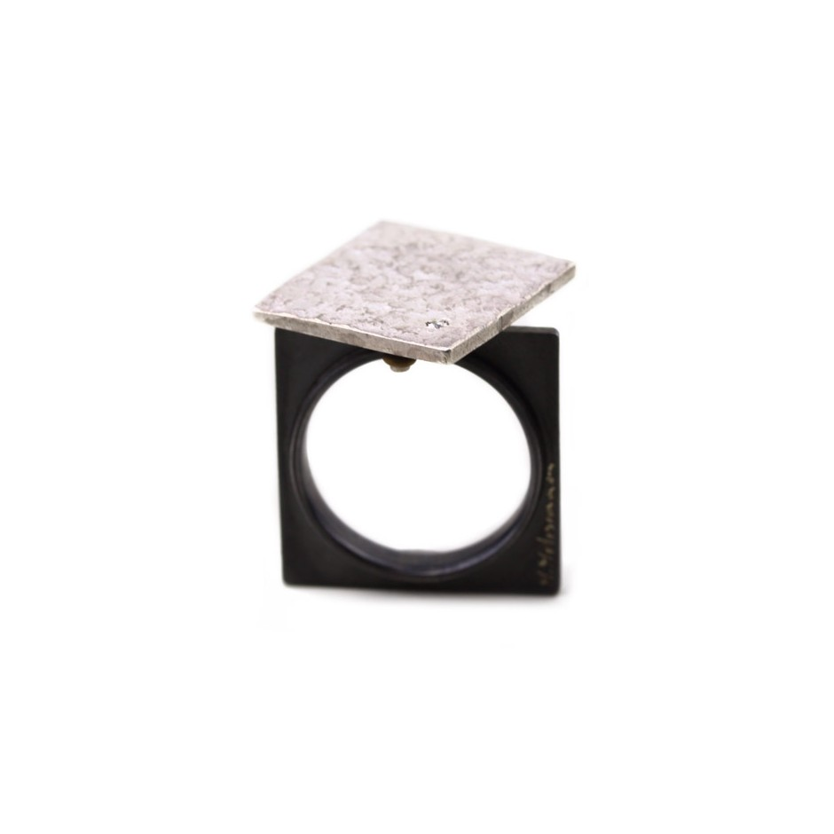 Marco Malasomma 45A - Ring - Solo - Oxidized silver, silver and diamond