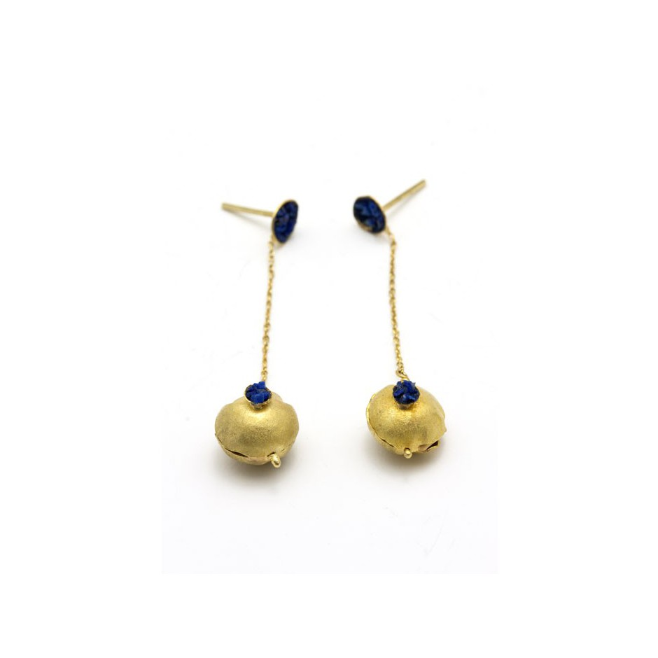 Adrean Bloomard 18A - Earrings - Unique piece - Made of gold and crushed lapis lazuli