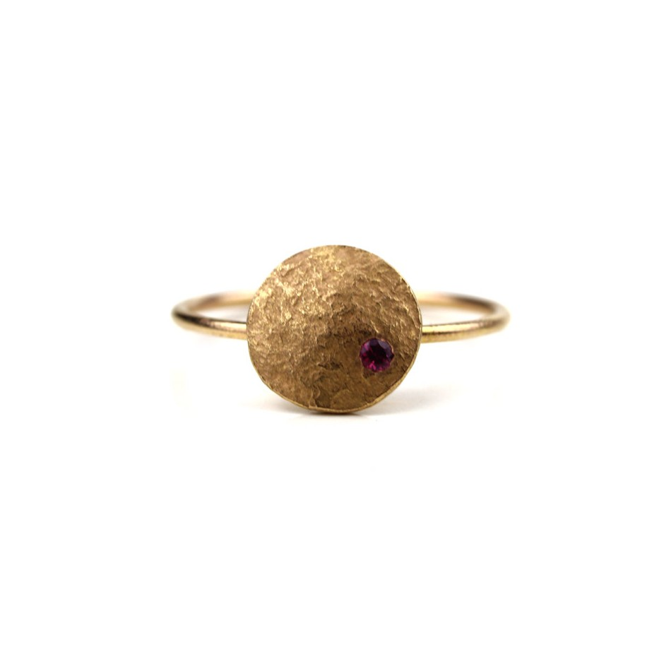 Marco Malasomma 49B - Ring - Luna Piena - Rose gold and ruby