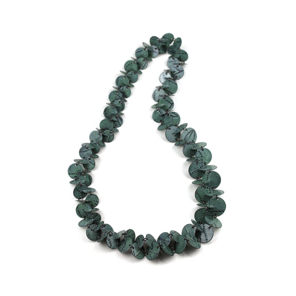 Silke Trekel 14A - Necklace - Vertebra - Chased iron, enamelled, oxidized silver