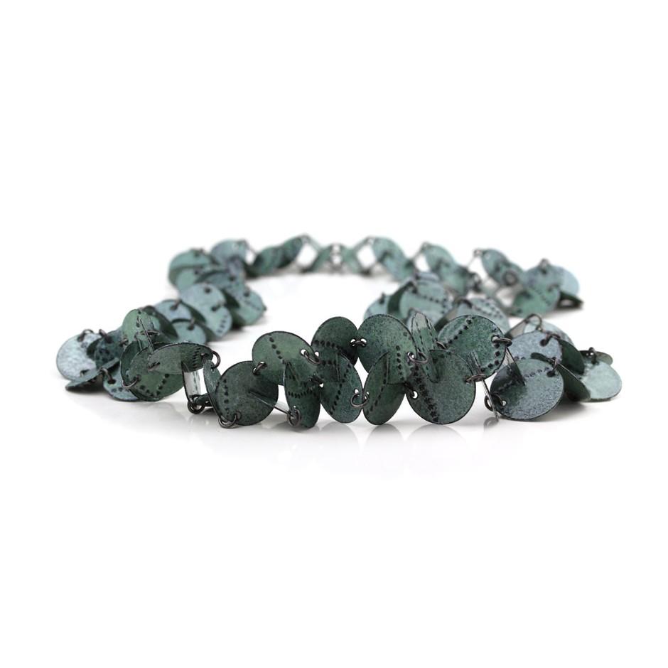 Silke Trekel 14C - Necklace - Vertebra - Chased iron, enamelled, oxidized silver