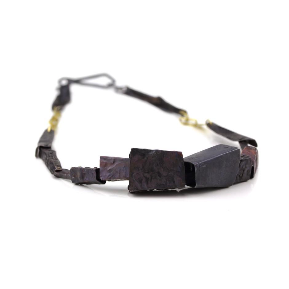 Dina Abargil 19A - Necklace - Shibuichi, oxidized silver, yellow gold