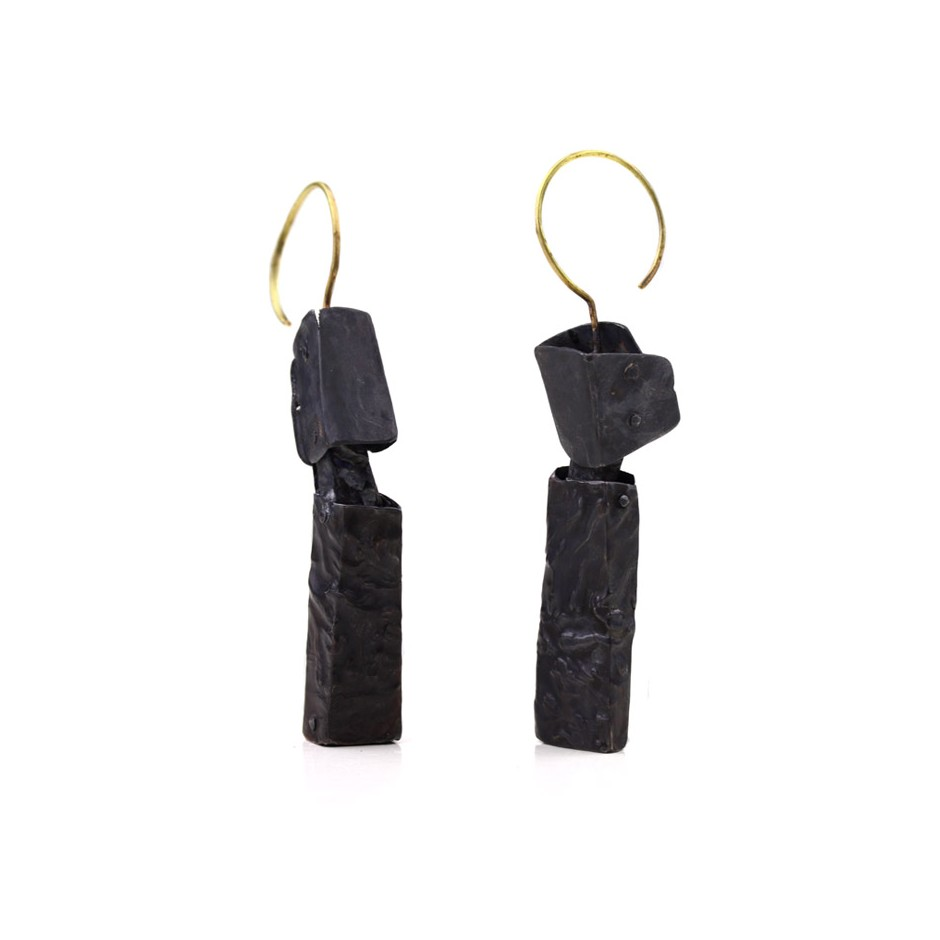 Dina Abargil 21B - Earrings - Shibuichi, oxidized silver and yellow gold