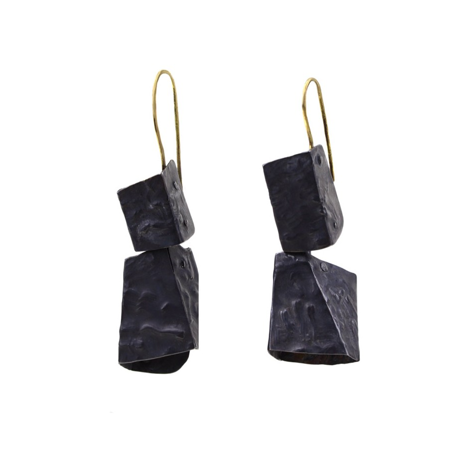 Dina Abargil 22A - Earrings - Shibuichi, oxidized silver and yellow gold