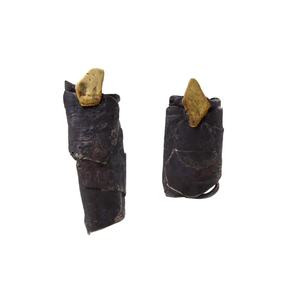 Dina Abargil 24A - Earrings - Shibuichi, oxidized silver and yellow gold