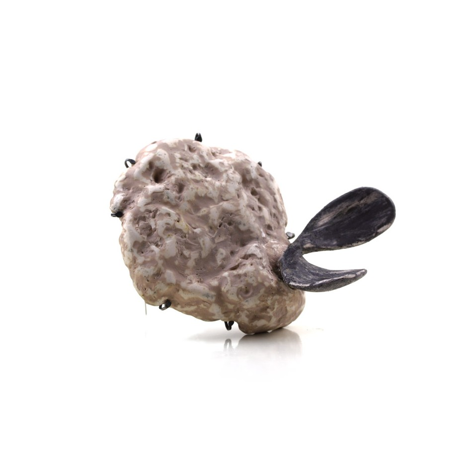 Satomi Kawai 33B - Brooch - Started Growing in the Dark - Volcanic stone, clay, oxidized silver, acrylic paint, gold plated