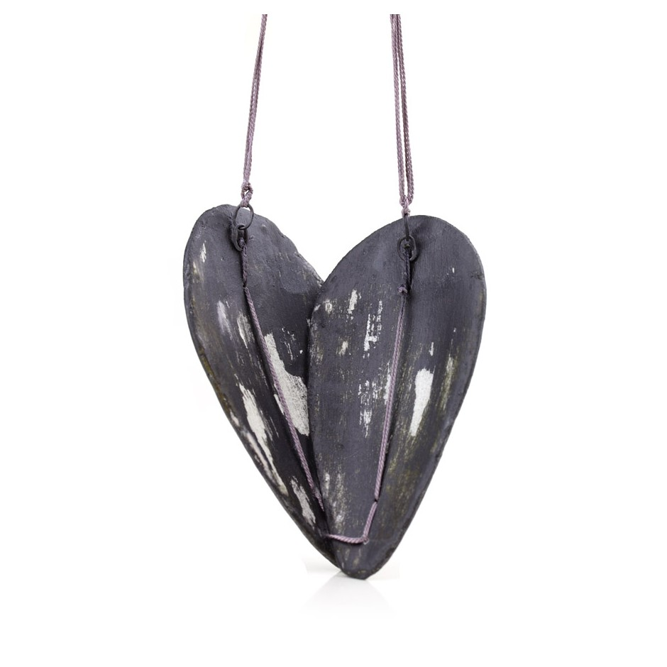 Satomi Kawai 36E - Necklace - Black Seeds 1 - Acrylic-painted clay, sterling silver and silk thread