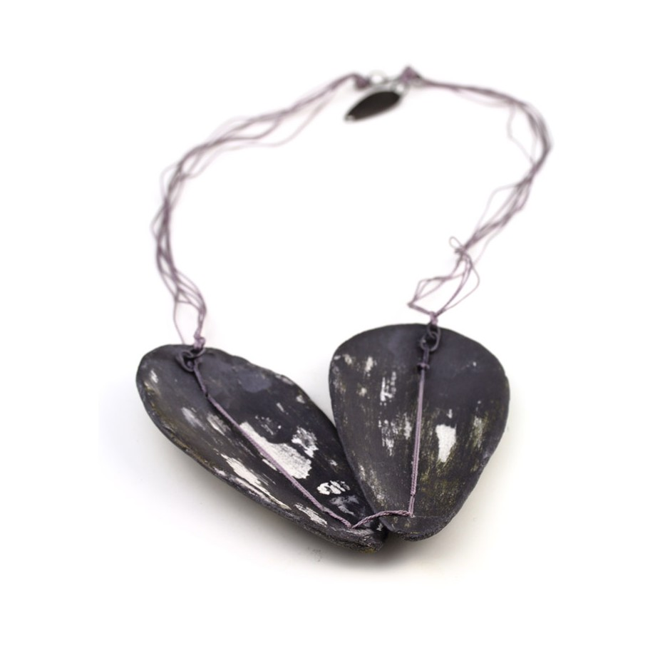 Satomi Kawai 36B- Necklace - Black Seeds 1 - Acrylic-painted clay, sterling silver and silk thread