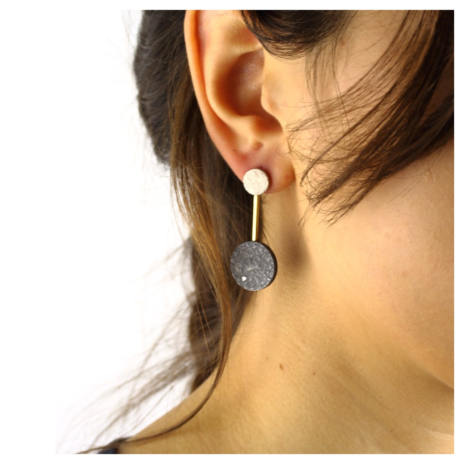 Marco Malasomma 42E - Earrings - Silver, oxidized silver, yellow gold and diamonds