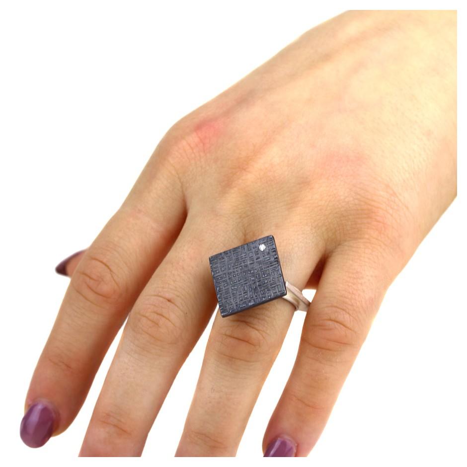 Marco Malasomma 44D - Ring - Solo - Oxidized silver, silver and diamond