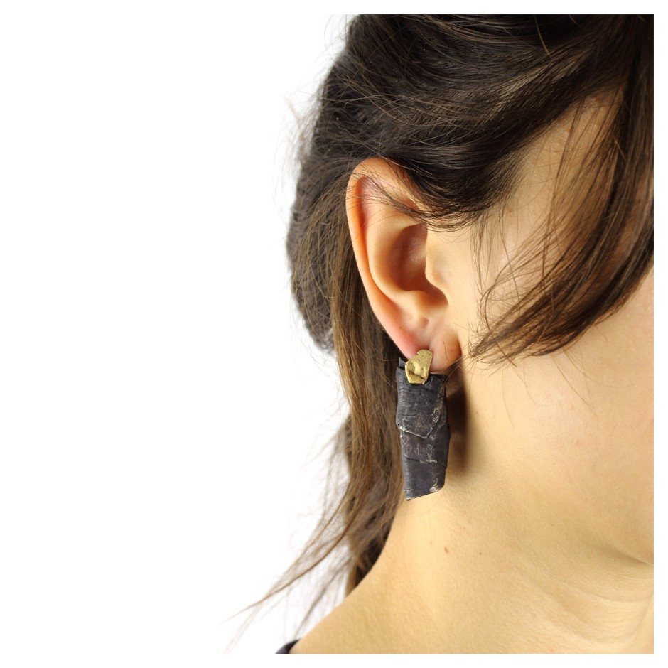 Dina Abargil 24E - Earrings - Shibuichi, oxidized silver and yellow gold