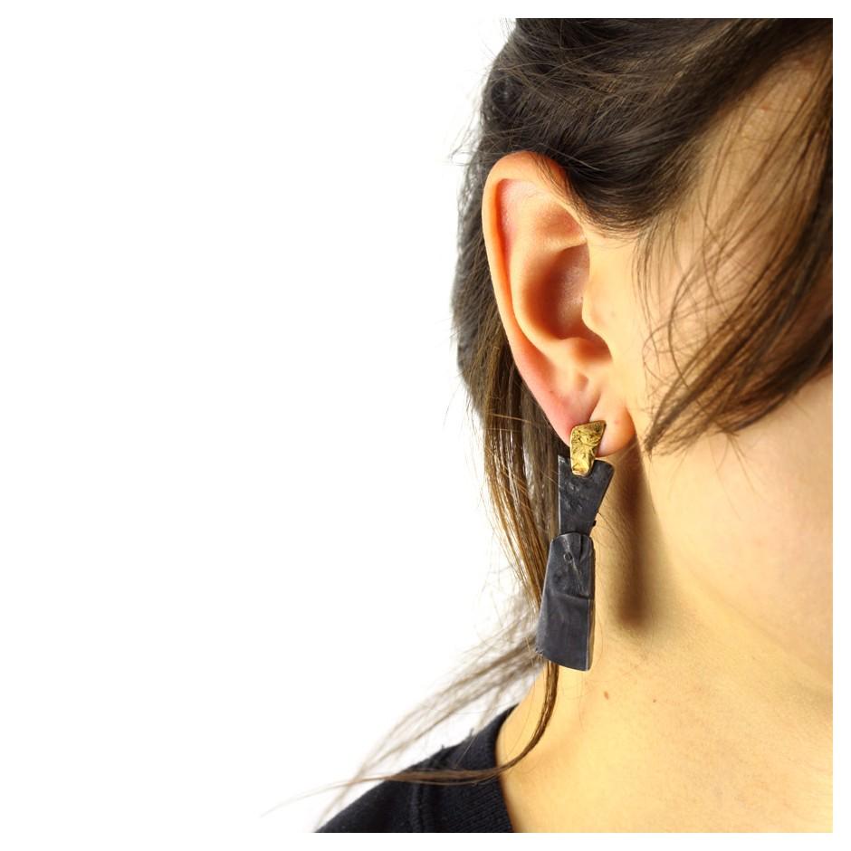 Dina Abargil 23E - Earrings - Shibuichi, oxidized silver and yellow gold