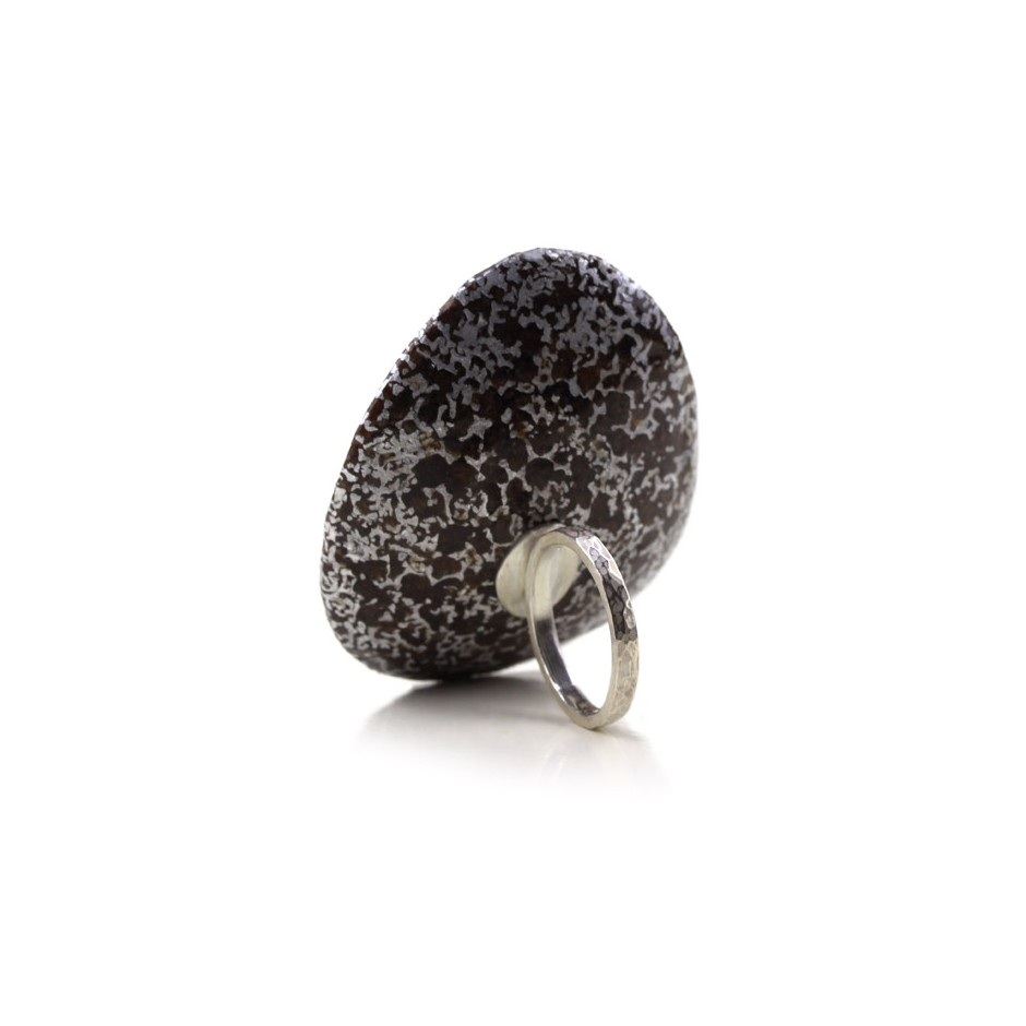 Francesca Antonello 02C - Ring - Beyond the skin II - Silver, cherry wood, aluminium foam