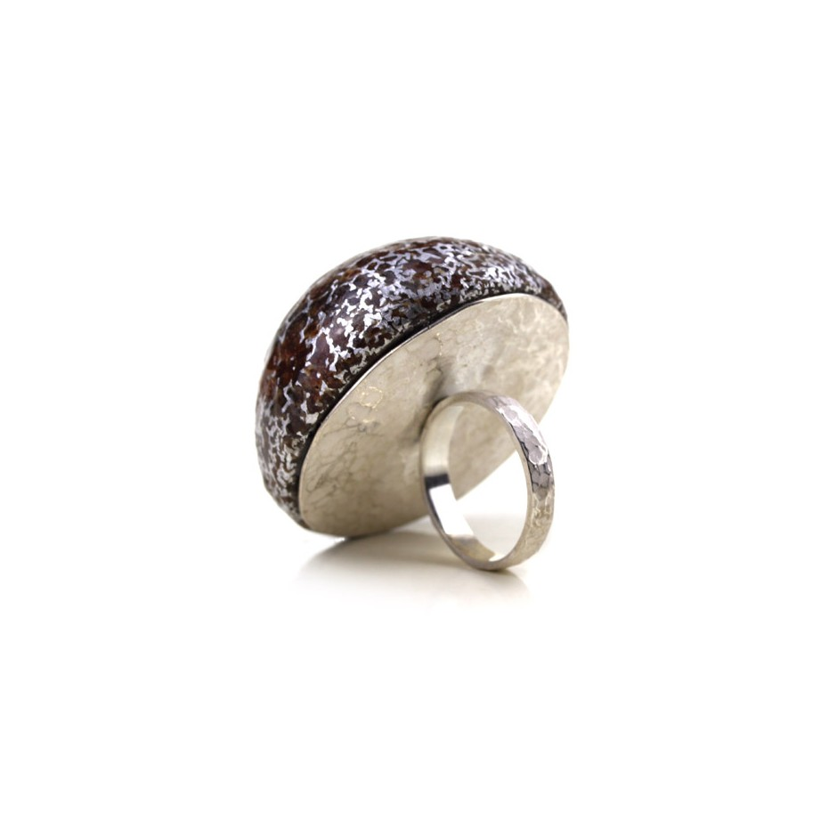 Francesca Antonello 03C - Ring - Beyond the skin II - Silver, cherry wood and aluminium foam