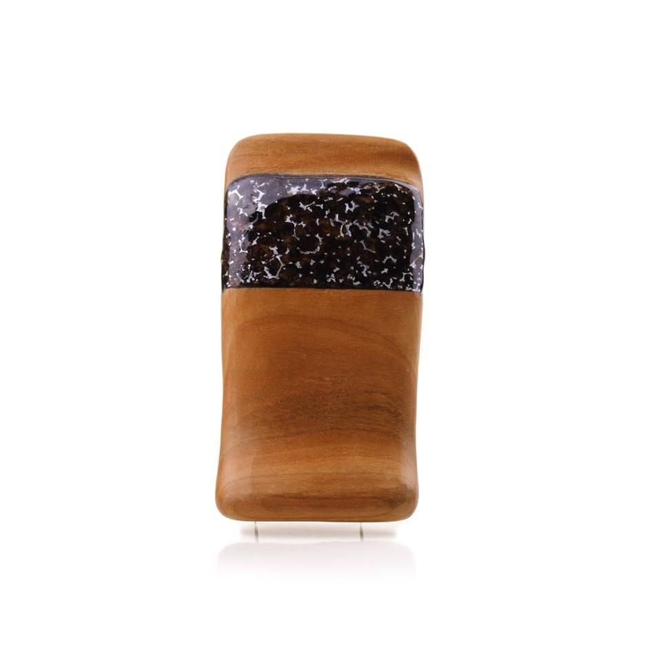Francesca Antonello 05A - Brooch - Wood&skin I - Cherry wood, walnut wood, aluminium foam, silver, steel