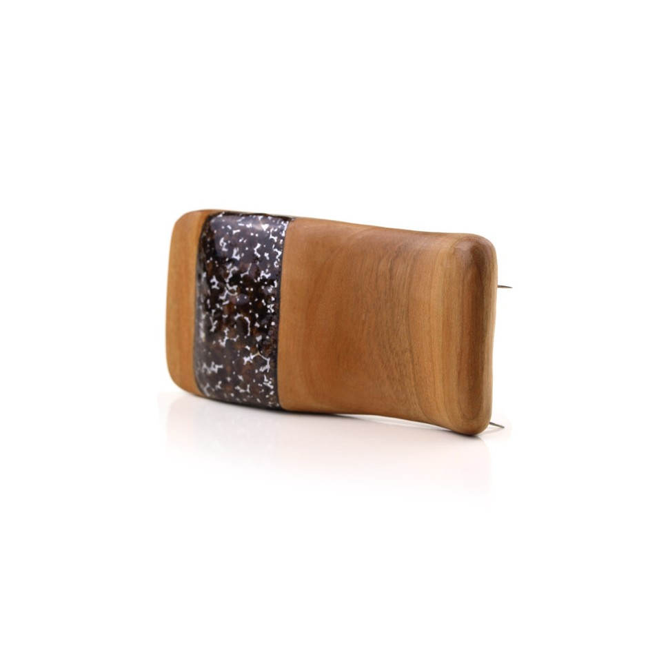 Francesca Antonello 05B - Brooch - Wood&skin I - Cherry wood, walnut wood, aluminium foam, silver, steel
