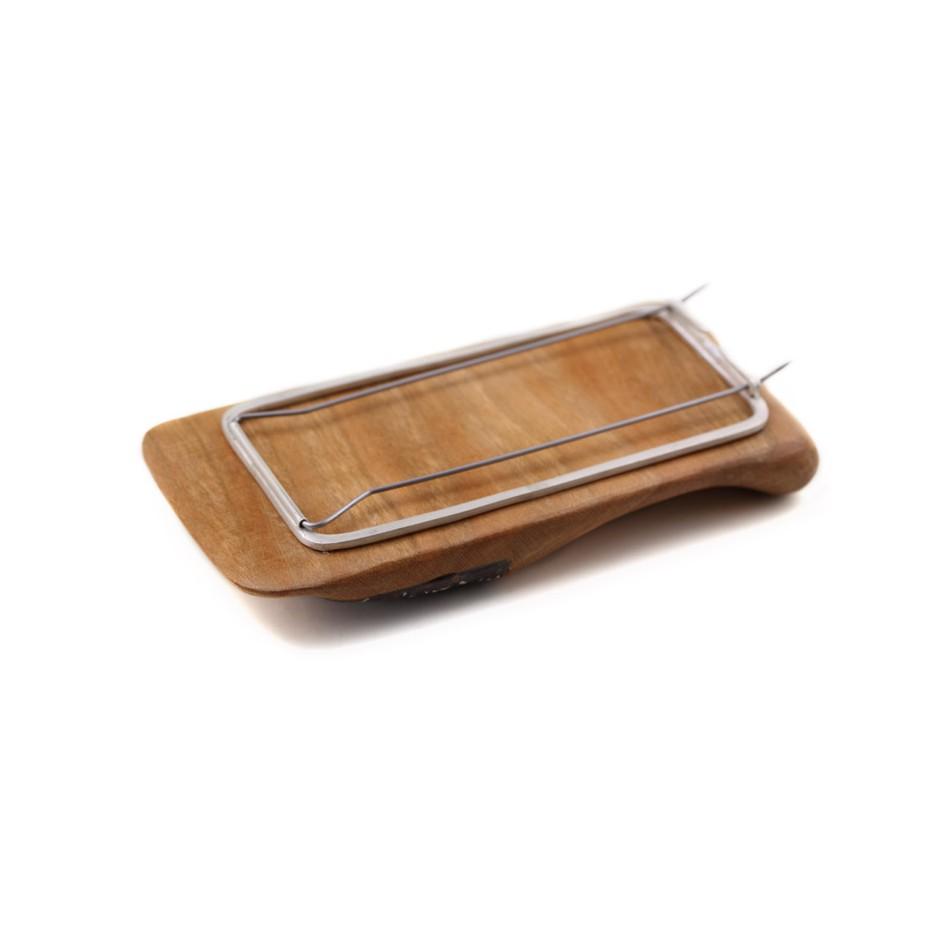 Francesca Antonello 05C - Brooch - Wood&skin I - Cherry wood, walnut wood, aluminium foam, silver, steel
