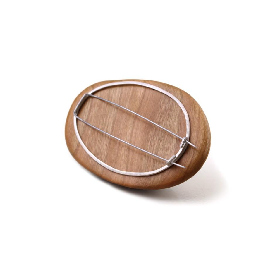 Francesca Antonello 06D - Brooch - Wood&skin IV - Douglas wood, walnut wood, aluminium foam, silver, steel.