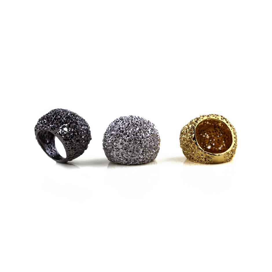 Barbara Uderzo 25A - Rings - Ottoni - Brass, galvanic finish in yellow gold and white or black rhodium.
