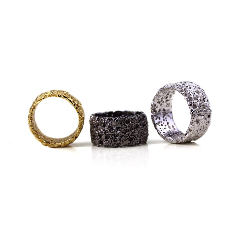 Barbara Uderzo 26B - Rings - Ottoni - Brass, galvanic finish in yellow gold and white or black rhodium