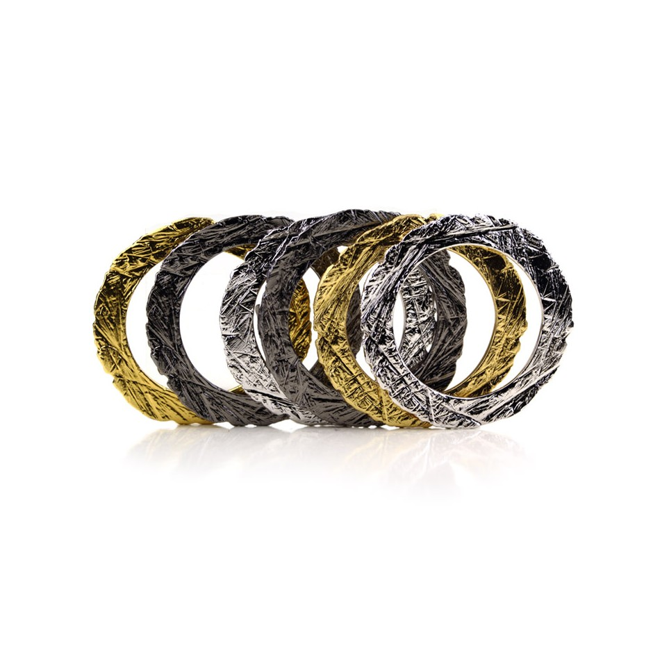 Barbara Uderzo 27E - Set of rings - Ottoni - Brass, galvanic finish in yellow gold, white or black rhodium.