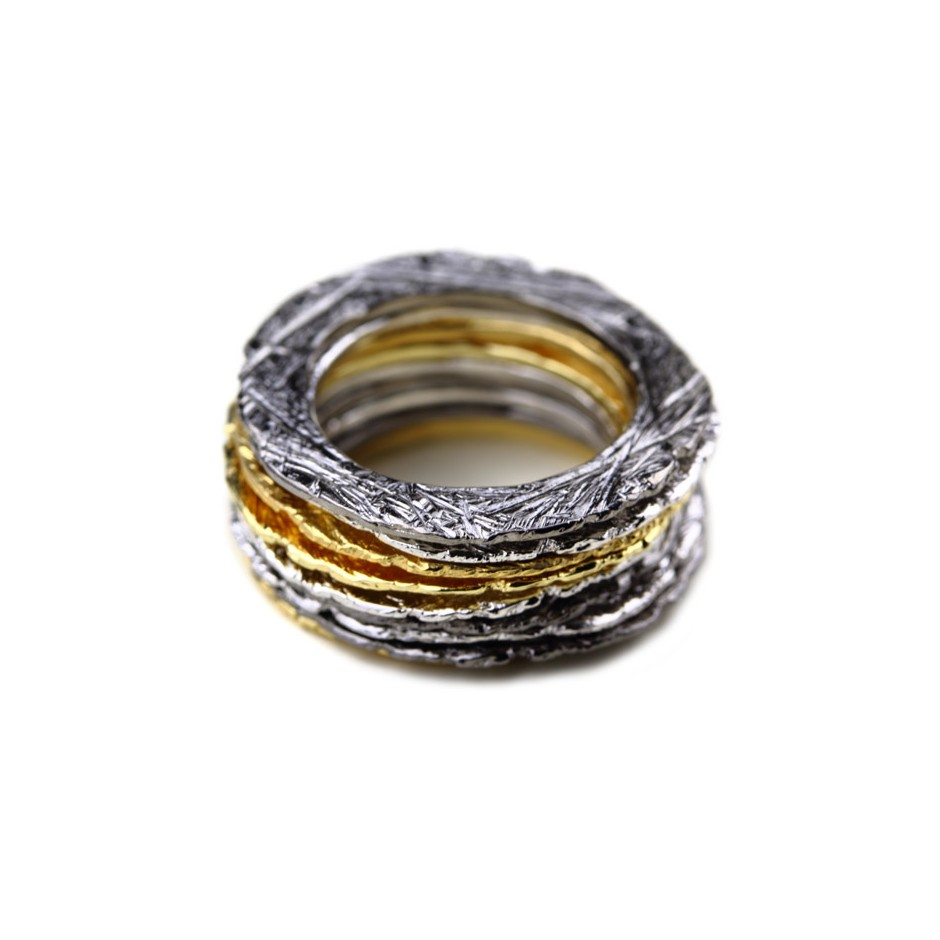 Barbara Uderzo 27H - Set of rings - Ottoni - Brass, galvanic finish in yellow gold, white or black rhodium.